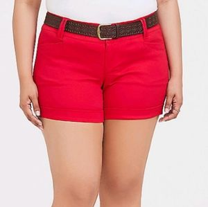 Torrid red sateen shorts with belt